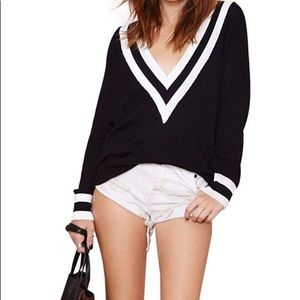 COPY - V neck Varsity sweater black and white